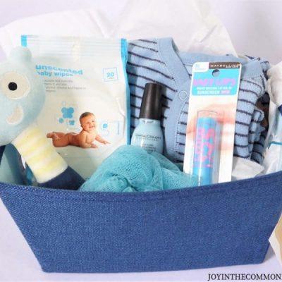 Blue Baby Shower Themed Gift Basket
