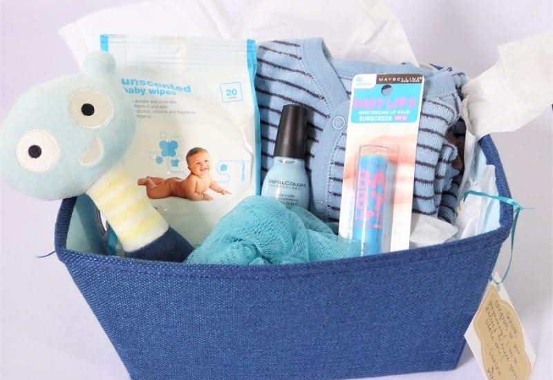 Blue Baby Shower Themed Gift Basket