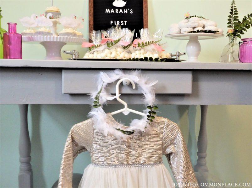 Dress & Feather Crown- Swan First Birthday