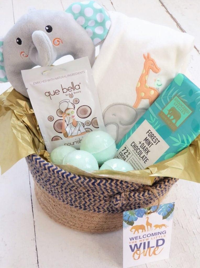 DIY Safari Theme Baby Gift Basket