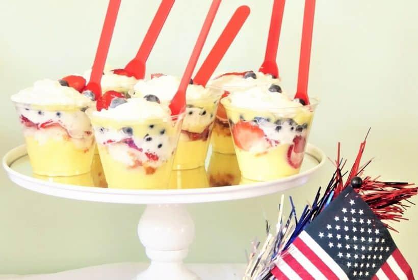 Patriotic Berry and Banana Cream Mini Trifles