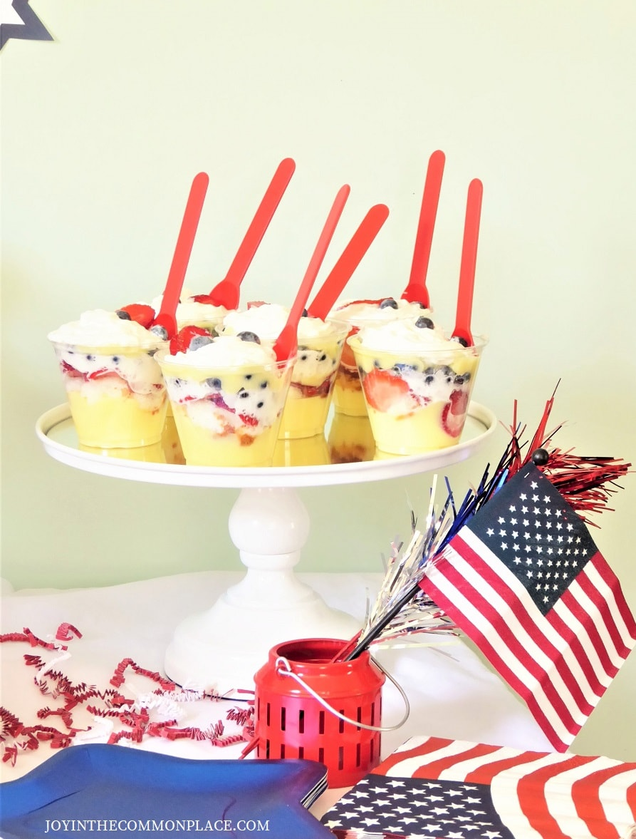 Patriotic Berry and Banana Cream Mini Trifles