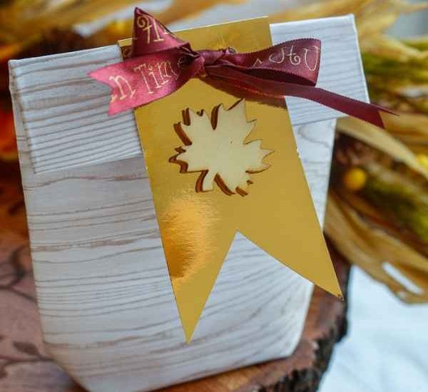 a diy fall party bag made from paper, ribbon, and a wooden sticker