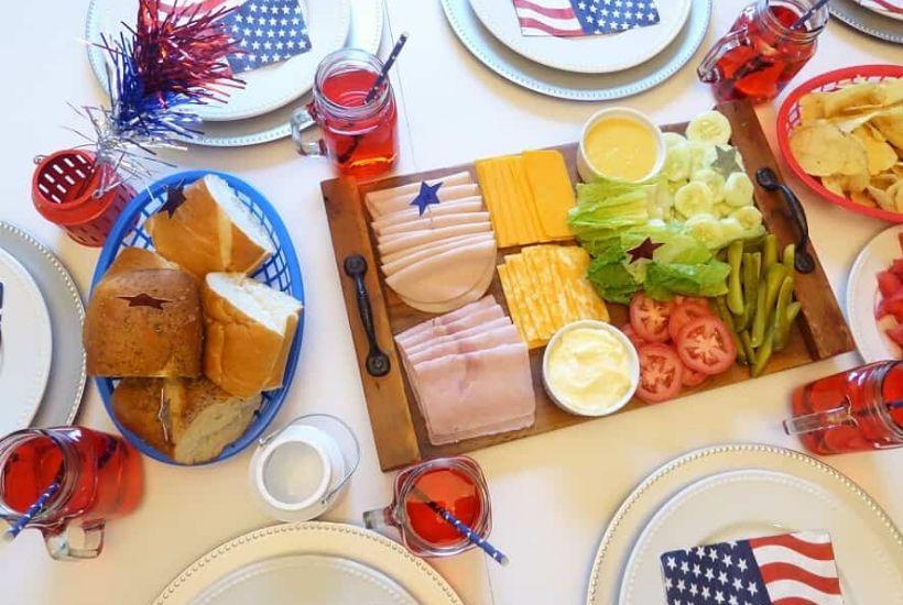 Patriotic Sub Sandwich Charcuterie Board